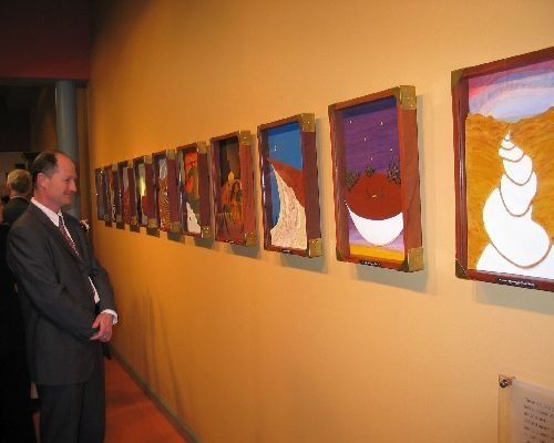 Exhibition photo showing a number of Darryl's artworks