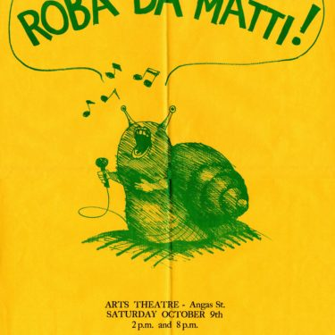 Roba Da Matti event poster with a snail singing